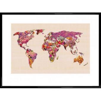 poster reproduction encadr cartes du monde our wonderful world bianca green 60x80 cm. Black Bedroom Furniture Sets. Home Design Ideas