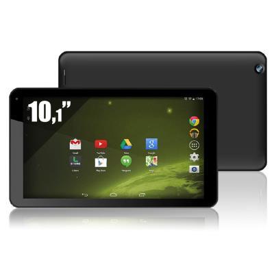 Tablette Tactile 10,1 Résolution 1024 x 600 px Processeur Dual core Rockchip 3026 Cortex A9 1,0 GHz Stockage 16 Go Port micro SD Port micro USB Mémoire vive 1 Go Réseau Wifi Webcam avant 0,3 MPx Webcam arrière 2 MPx 496 g Android 4.4 Noir