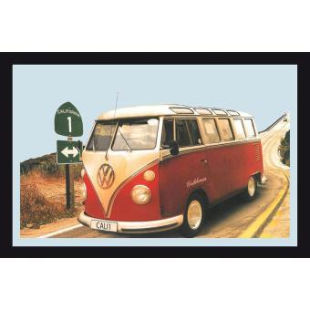 miroir vw combi california miroir mural avec cadre noir effet bois top prix fnac. Black Bedroom Furniture Sets. Home Design Ideas