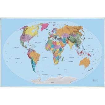 poster encadr cartes carte du monde dition 2015 en anglais 61x91 cm cadre plastique. Black Bedroom Furniture Sets. Home Design Ideas