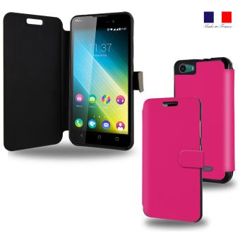Housse etui portefeuille rose wiko lenny 2 achat prix for Housse wiko lenny 4