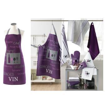 Tablier de cuisine avec poche cave a vin violet achat for Cuisine avec cave a vin