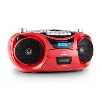 auna groove star radiocassette k7 bluetooth fm cd usb mp3 rouge achat prix fnac. Black Bedroom Furniture Sets. Home Design Ideas