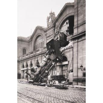 Trains poster reproduction accident ferroviaire la gare montparnasse paris 1895 120x80 cm - Magasin bricolage montparnasse ...