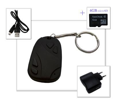 Porte-clés avec une mini-caméra + carte SD 4GB Description de produit : Que ce soit pour des photos ou des vidéos, ce petit porte-clés est votre meilleur allié pour vos balades. Grâce à sa mini-caméra et son micro intégrés, vous pourrez enregistrer vos ph