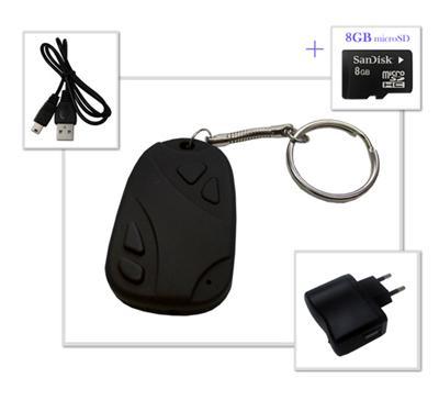 Porte-clés avec une mini-caméra + carte SD 8GB Description de produit : Que ce soit pour des photos ou des vidéos, ce petit porte-clés est votre meilleur allié pour vos balades. Grâce à sa mini-caméra et son micro intégrés, vous pourrez enregistrer vos ph