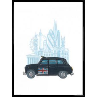 poster reproduction encadr londres taxi 80x60 cm cadre plastique noir top prix sur. Black Bedroom Furniture Sets. Home Design Ideas