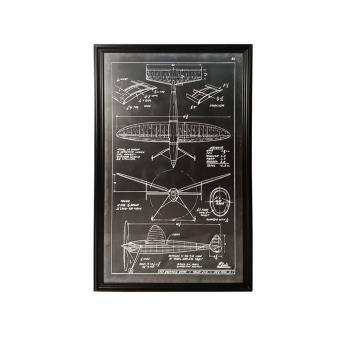 Poster avec son cadre en bois noir aviation style industriel 100 x 170 cm - Poster style industriel ...