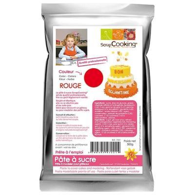 Image du produit Pâte à sucre Rouge pour modeler pour gâteaux Scrapcooking 300g