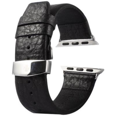 Apple Watch 42mm Bracelet Cuir PU Noir avec Connecteur Texturé