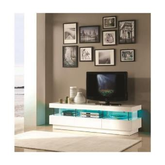 Light meuble tv 160cm laqu blanc brillant led multicolore achat prix fnac - Meuble tv laque blanc brillant ...