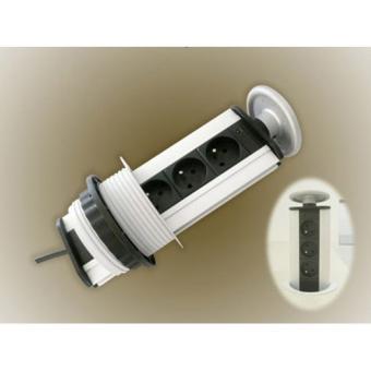 multiprise 3 multiprises telescopique encastrale pour plan. Black Bedroom Furniture Sets. Home Design Ideas