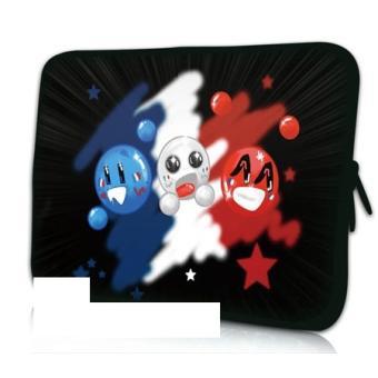 Housse ordinateur portable 17 pouces smiley bleu blanc for Housse 17 pouces