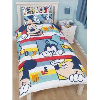 animés mickey parure de lit réversible mickey dingo play disney
