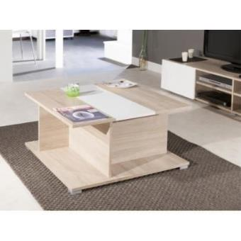 table basse prisca avec coffre chene blanc achat. Black Bedroom Furniture Sets. Home Design Ideas