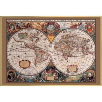 poster encadr cartes historiques carte mondiale du 17 si cle 61x91 cm cadre plastique. Black Bedroom Furniture Sets. Home Design Ideas