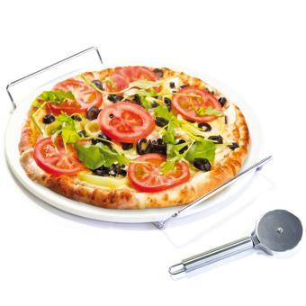 pierre r fractaire pizza pour four avec support roulette pizza achat prix fnac. Black Bedroom Furniture Sets. Home Design Ideas