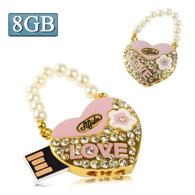 Heart Shaped Diamond Jewelry USB Clé Clef USB with Pearl Chain, Special for Valentines Day Gifts (8GB)