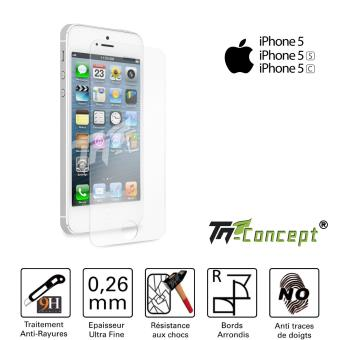 vitre de protection cran apple iphone 5 5c 5s tm concept verre tremp hq 0 26mm. Black Bedroom Furniture Sets. Home Design Ideas