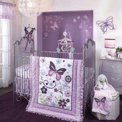 Pare-chocs tour de lit luxe pour enfants motifs papillon (4 pièces), 30.5 x 30.5 x 20.3 cm -PEGANE- pour 180€
