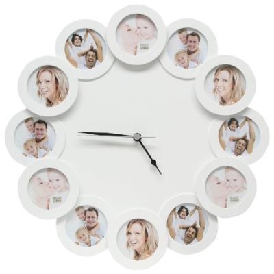 Deknudt Frames Cadres Photos - S66SF1-.0X.0 - Cadre Photo avec Horloge 12 Ouvertures Rond42,6 x 42,6 x 3,2 cm Dimensions 42,6 x 42,6 x 3,2 cm