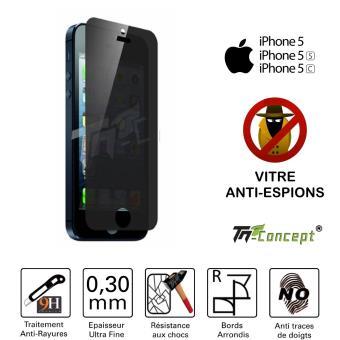 vitre de protection anti espion apple iphone 5 5c 5s tm concept verre tremp teint. Black Bedroom Furniture Sets. Home Design Ideas