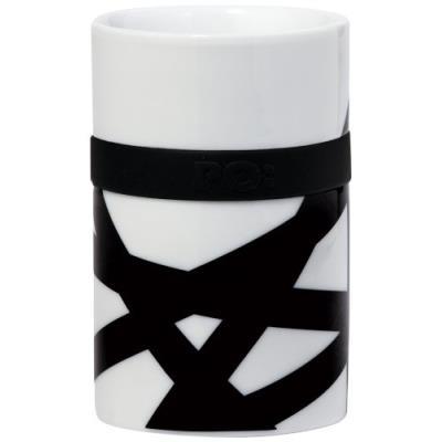 Image du produit PO SELECTED MUG À THÉ/CAFÉ ISOTHERME NID D´OISEAU PORCELAINE/SILICONE BLANC/NOIR 7,9 X 7,9 X 13,2 CM