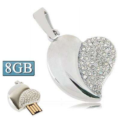 Silver Heart Shaped Diamond Jewelry USB Clé Clef USB, Special for Valentines Day Gifts (8GB)
