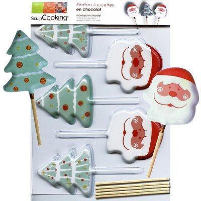 Image du produit ScrapCooking® - Moule à sucettes chocolat - Noël x5