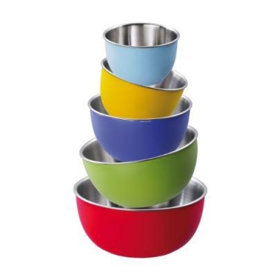 Image du produit king colori s66c lot de 5 bols bleu clair/jaune/violet/vert/rouge 11/13/15/17/19 cm