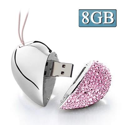 Heart Shaped Diamond Jewelry USB Clé Clef USB, Special for Valentines Day Gifts (8GB)