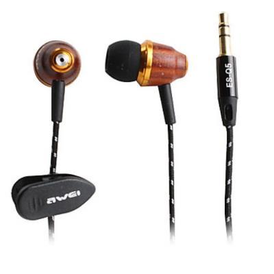 Ecouteurs intra-auriculaires en bois marron