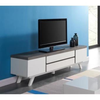 Viktor meuble tv 165 cm blanc satin et d cor effet for Meuble tv effet beton