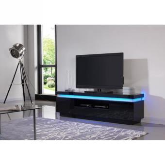 Flash meuble tv laqu noir 165cm avec leds multicolores for Meuble tv haut noir