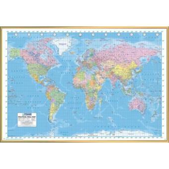 poster encadr cartes du monde carte murale politique en anglais 61x91 cm cadre plastique. Black Bedroom Furniture Sets. Home Design Ideas