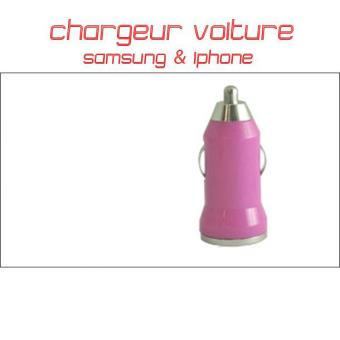 chargeur voiture samsung iphone rose achat prix. Black Bedroom Furniture Sets. Home Design Ideas