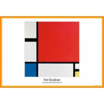 poster encadr piet mondrian composition ii en rouge bleu jaune 1930 61x91 cm cadre. Black Bedroom Furniture Sets. Home Design Ideas