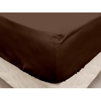 drap housse coton 140x190 cm fleur de percale chocolat. Black Bedroom Furniture Sets. Home Design Ideas