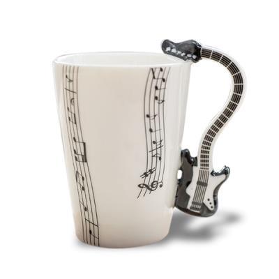 Image du produit Tasse anse en guitare noire mug porcelaine
