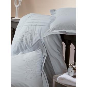 housse de couette percale brod e gris bleut 220x240 cm noces de coton achat prix fnac. Black Bedroom Furniture Sets. Home Design Ideas