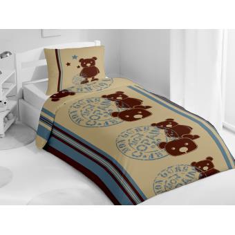 housse de couette 1 place teddy choco 1 taie d 39 oreiller achat prix fnac. Black Bedroom Furniture Sets. Home Design Ideas