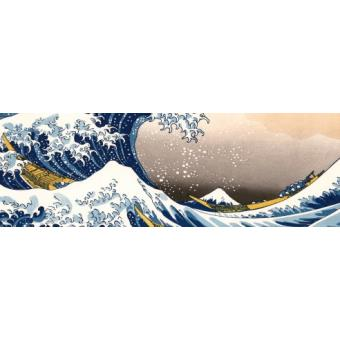 katsushika hokusai poster reproduction la grande vague de kanagawa 53x158 cm top prix fnac. Black Bedroom Furniture Sets. Home Design Ideas