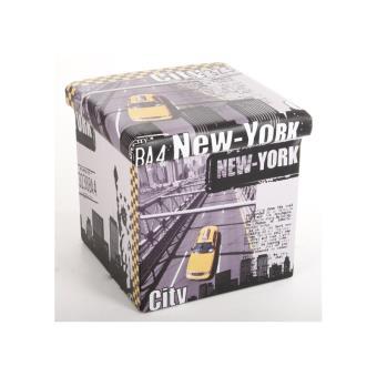 Pouf carré New York Coffre de rangement pliable Fnac.com
