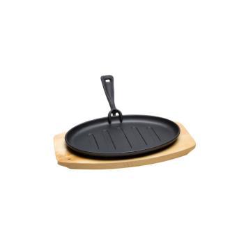 service po le en fonte ovale avec dessous de plat en bois achat prix fnac. Black Bedroom Furniture Sets. Home Design Ideas