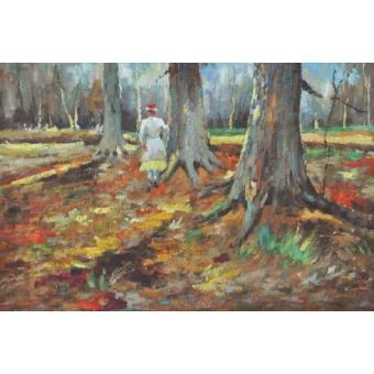 Vincent van gogh peinture l huile jeune fille en blanc dans la for t 1882 60x90 cm top - Peinture a l huile van gogh ...