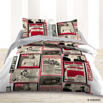 housse de couette 2 personnes 220x240 2 taies newspaper star achat prix fnac. Black Bedroom Furniture Sets. Home Design Ideas