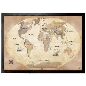 Cartes paillasson essuie pieds carte du monde style ancien en anglais 50x70 cm top prix - Paillasson en anglais ...