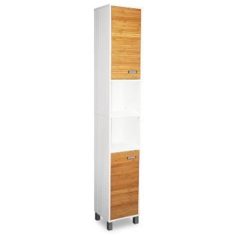 Colonne de salle de bain en bambou couleur blanc for Colonne de salle de bain couleur wenge