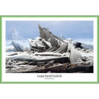 poster encadr caspar david friedrich la mer de glace 1823 61x91 cm cadre plastique vert. Black Bedroom Furniture Sets. Home Design Ideas