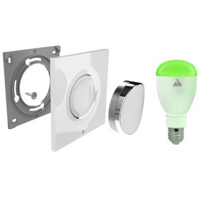 Ampoules connectées Awox STARTER KIT SKPL-C9 POINTS FORTS - Interrupteur sans fil Bluettoth et ampoule LED blanche et couleur E27 - Commande gestuelle sans fil - Bluetooth - Portée 20 mètres - Couleur et intensité variable, mode Nuit - Jusqu´à 8 ampoules